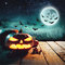 Halloween Pumpkins On Wood In A Spooky Forest At Night. Elements of this image furnished by NASA