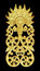 Pattern of wood carve gold paint for decoration on black background.