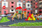 Colorful сhildren\'s playground for kids in new district with ma