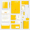 Yellow set of vector corporate identity template. Modern medical stationery mock-up. Branding design with molecule