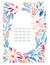 Watercolor ornate flowers, holly, seeds, fir-tree twigs wreath