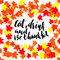 Happy Thanksgiving lettering. Greeting text and autumn leaves . Vector illustration EPS 10