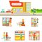 Grocery Shop Exterior And People Shopping Set Of Illustrations
