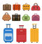 Travel bags icon set, flat style. Luggage travel bags set  on a white background. Set suitcases. Collection different bags