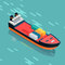 Container or Cargo Ship Sailing in the Sea. Vector