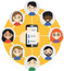 Hand holding a cell phone with contacts of people concept. Choose person. Contact list, phonebook icon. Group . Call