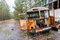 Destroyed old rusty bus at Factory in Pripyat ghost city, Chernobyl Nuclear Power Plant Zone of exclusion and alienation