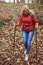 Adult woman hiking during the autumn