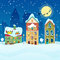 Merry Christmas Cityscape with Snowfall, Houses