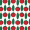 Seamless pattern with abstract vegetables. Illustration from tomato and cucumber