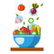 Salad  illustration. Salad bowl in flat style. Concept fresh, natural, healthy food. Vegetable salad in a plate.
