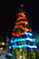 Christmas abstract defocused background, christmas tree with lights glowing bokeh