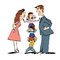 Quarrel in the family, mom and dad fighting, kids calm
