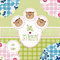 Three happy triplets. Baby arrival announcement card. Triplets baby girls and boys shower card, cute newborn. Teddy bears, kid sty