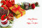 Christmas background, greeting card with baubles, poinsettia, gift, fir and decorations on white.