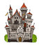 Cartoon fairy tale castle tower icon. Cute architecture. Vector illustration fantasy house fairytale medieval
