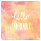 Hello January text on red and yellow watercolor background