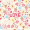 Seamless background with cup, diamond, hearts, strawberries, butterflies and love.