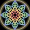 Rainbow mandala composed from multicolored dots, golden aura. Symmetric ornament for spiritual exercises and meditation.
