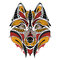 Patterned colored head of the wolf.