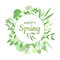 Happy Spring green card design with text in round floral frame