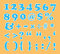 Cute number and sign font set with circle pattern
