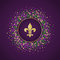 Mardi Gras holiday background. Round dotted frame with golden glitter fleur de lis.