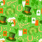 Vector seamless pattern St. Patrick Day on a green background.