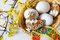 Traditional Czech easter decoration - white eggs in wicker nest