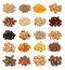 Collection of healthy dried fruits, cereals, seeds and nuts isolated