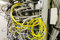 Equipment of radio base station, yellow optic patch cords.