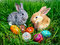 Easter bunny with eggs on green grass