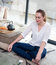 Zen young woman practicing yoga home for meditation and relaxation