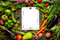 Food recipes tablet on rustic wooden table