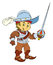 Happy smiling cartoon medieval spanish knight or soldier standing with sword