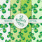 Vector seamless clover pattern set with three leaf for Saint Patrick s Day.