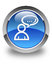 Social network icon glossy blue round button