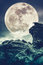 Super moon or big moon. Sky background with large full moon behind boulder. Cross proces style.