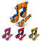 Set of 3d vector shattered musical notes with music word. Art me