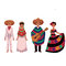 Mexican people, men and women, in traditional national costumes