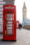 Traditional London red phone box and Big ben in early morning