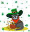 Greedy Cat dressed as a leprechaun and gold. Poster St. Patrick`s Day