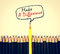 yellow wooden pencil arrange with make a difference concept