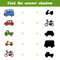 Find the correct shadow, game for children. Set of transport