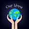 Earth Day card with planet and hands. Our home. Vector illustration