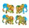 India. Beautiful elephants with flowers on white background. Decorative silhouettes.