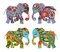 India. Decorative silhouettes. Beautiful elephants with flowers on white background.