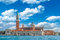Venice landmark, view from sea of Piazza San Marco or st Mark square, Campanile and Ducale or Doge Palace. Italy, Europe
