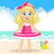 Vector cute blonde girl in pink swimsuit holding swiming ring on the sea background and bucket at the sand