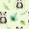 Baby animals nursery isolated seamless pattern. Watercolor boho tropical drawing, child tropical drawing cute panda and